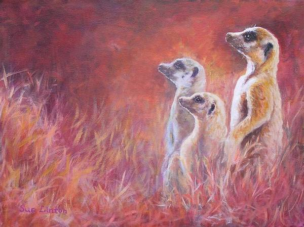 Meerkats Art Print featuring the painting On Alert by Sue Linton