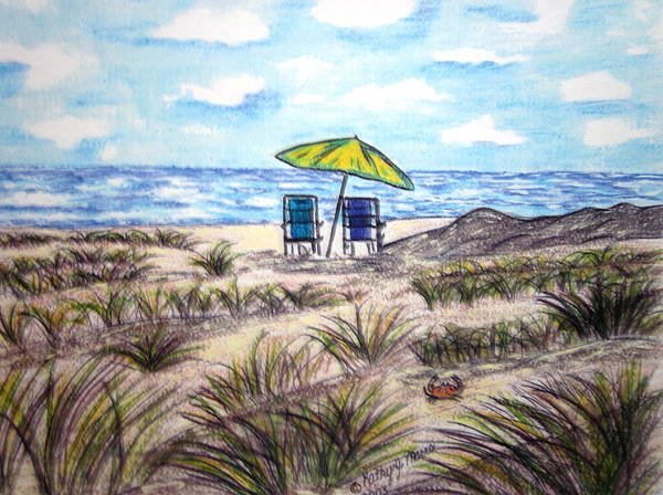 Beach Art Print featuring the painting On The Beach by Kathy Marrs Chandler