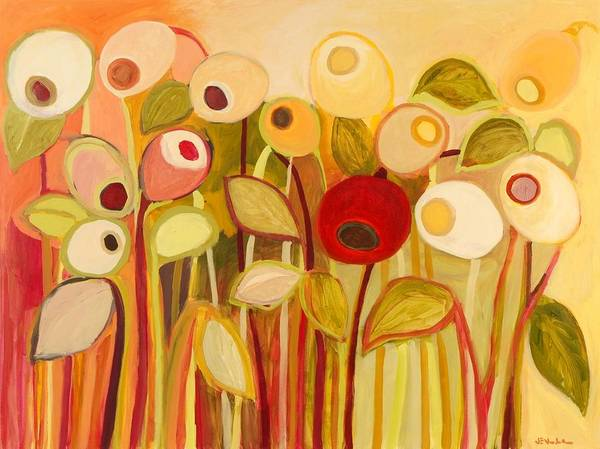 Floral Art Print featuring the painting One Red Posie by Jennifer Lommers