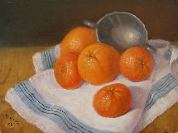 Realism Art Print featuring the painting Oranges And Tangerines by Donelli DiMaria