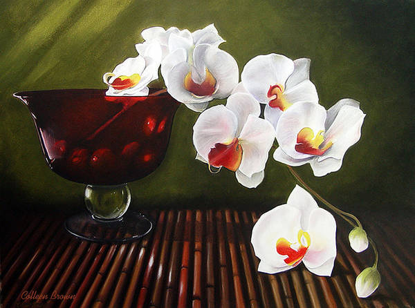 Floral Art Print featuring the painting Orchid Cascade by Colleen Brown