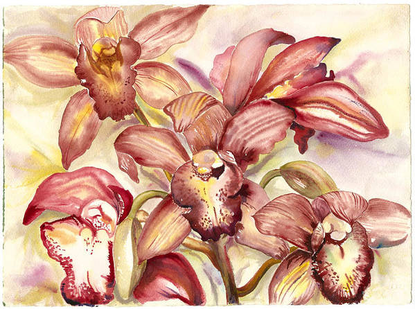 Tropical Orchids Art Print featuring the painting Orchid Medley by Ileana Carreno