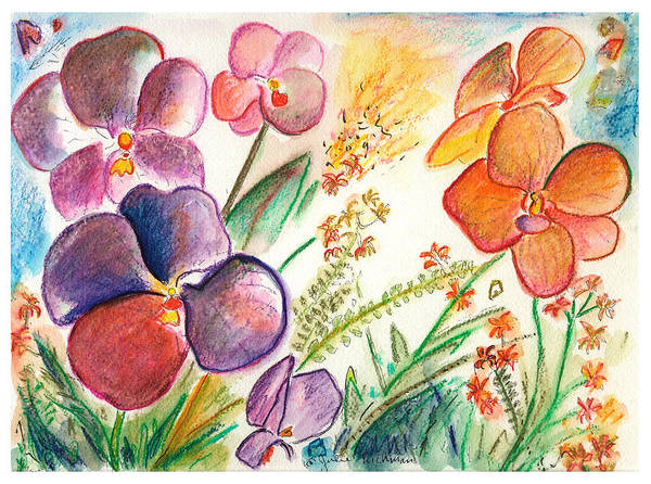 Orchids Art Print featuring the painting Orchid No. 12 by Julie Richman