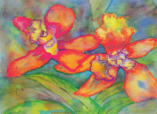 Flowers Art Print featuring the painting Orchids In Paradise by Cori Solomon