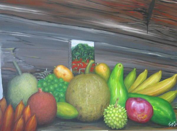 Frutas Art Print featuring the painting Orgullo De Borinquen by Toyo Perez
