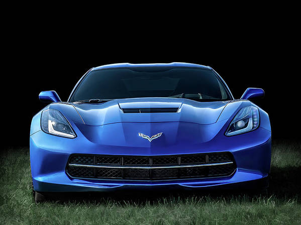 Corvette Art Print featuring the digital art Blue 2013 Corvette by Douglas Pittman