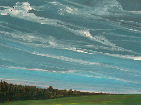 Landscape Art Print featuring the painting Over The Fields by Pete Maier