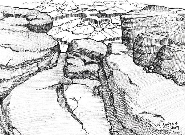 Canyon Art Print featuring the drawing Overlook by Nancy Matus