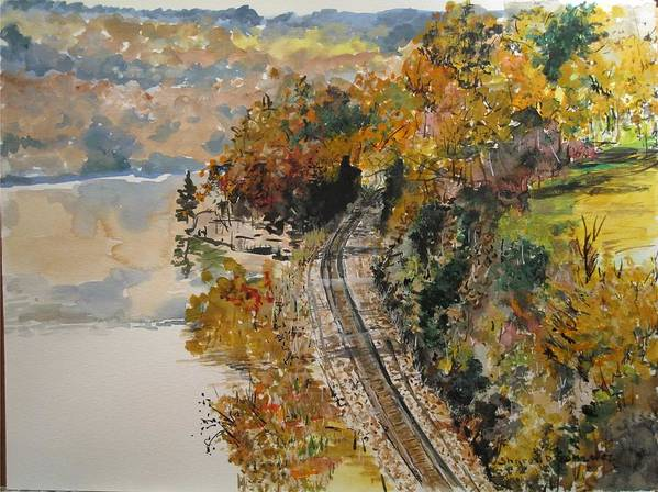 Autumn Art Print featuring the painting Ozark Fall by Sharon De Vore