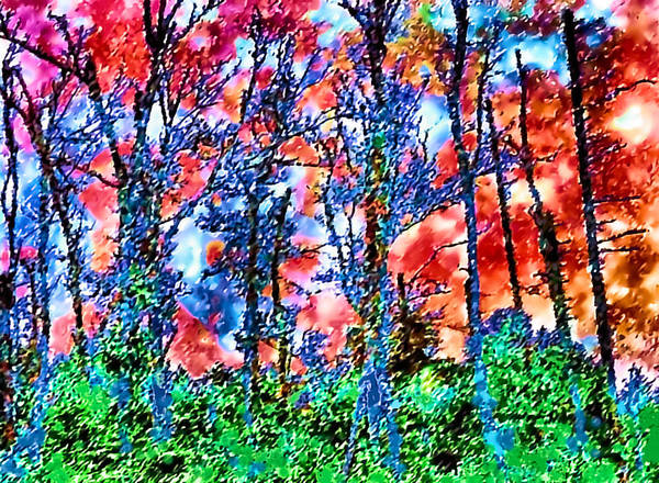 Woods Art Print featuring the painting p1050894s Kancamagus on Fire by Ed Immar