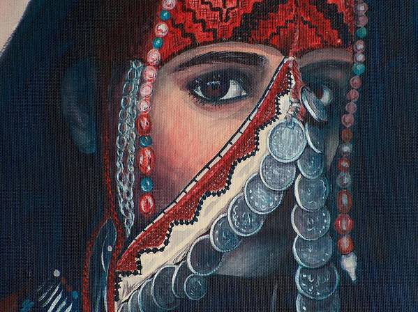 Painting Art Print featuring the painting Palestinian Woman by Sylvia Stone