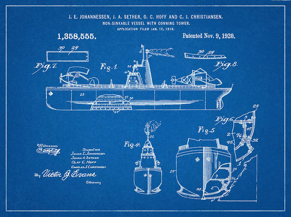 Patent 1918 unsinkable battle ship aircraft carrier blueprint patent 1920 unsinkable battle ship nautical art aircraft carrier naval ship navy malvernweather Gallery