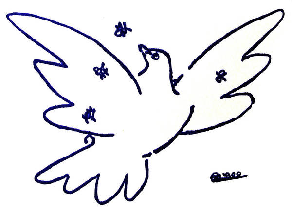 Peace Art Print featuring the painting Peace Dove Serigraph In Blue As A Tribute To Pablo Picasso's Lithograph Of Love Bird With Flowers by M Zimmerman