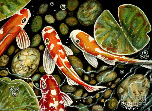Koi Fish Art Print featuring the painting Pebbles And Koi by Elizabeth Robinette Tyndall