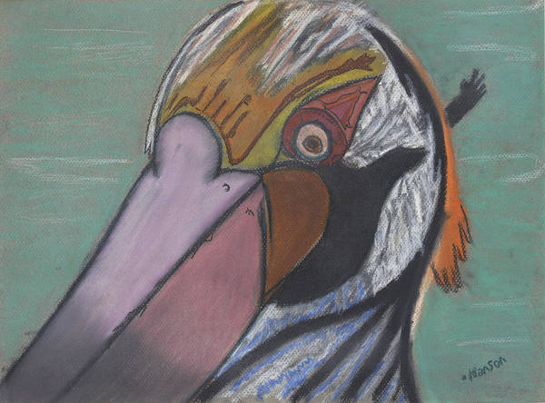 Pelican Art Print featuring the painting Pelican Face by Stu Hanson