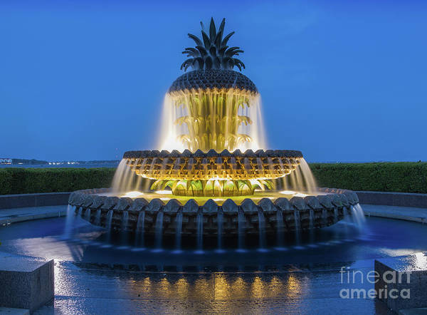 Architectural Art Print featuring the photograph Pineapple Fountain by Jerry Fornarotto