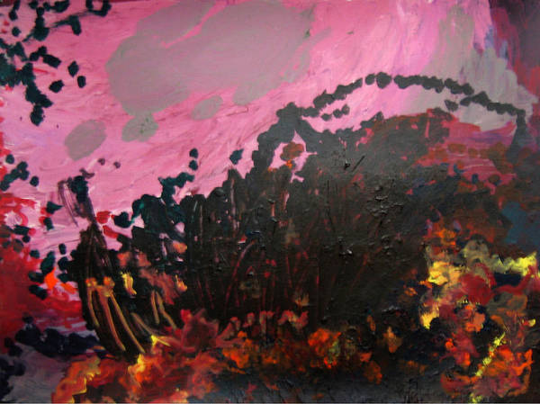 Abstract Art Print featuring the painting Pink Bliss by Kitty Hansen