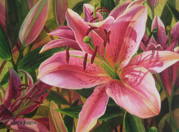 Watercolor Florals Art Print featuring the painting Pink Liliums by Karen Sioson