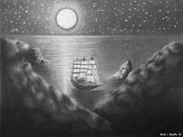 Ship Art Print featuring the drawing Pirates' Cove by Nicole I Hamilton