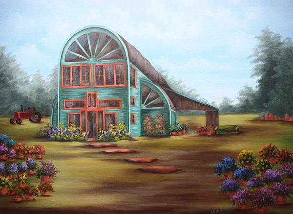 Greenhouse Art Print featuring the painting Plants For Sale by Ruth Bares
