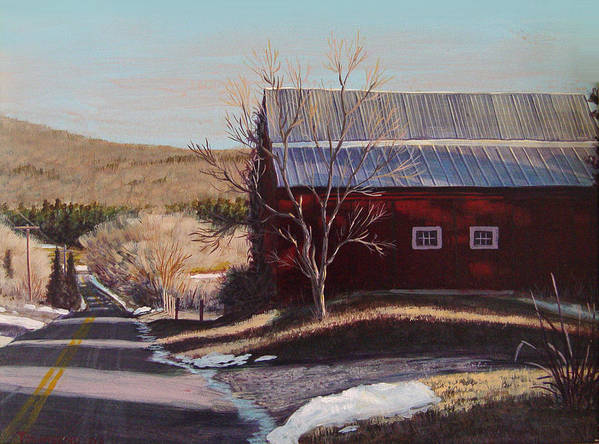 Barn Art Print featuring the painting Pleasant Valley by James Townsend