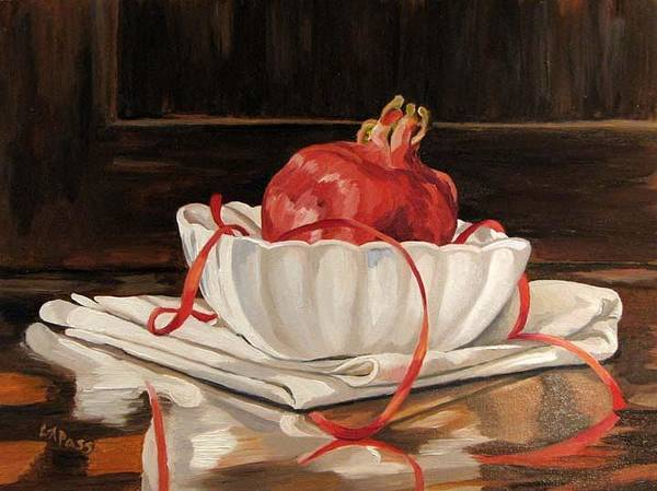 Pomegranate Art Print featuring the painting Pomegranate In White by Cheryl Pass