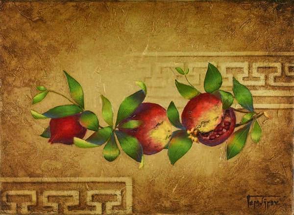 Pomegranates Art Print featuring the painting Pomegranates by Barbara Gerodimou