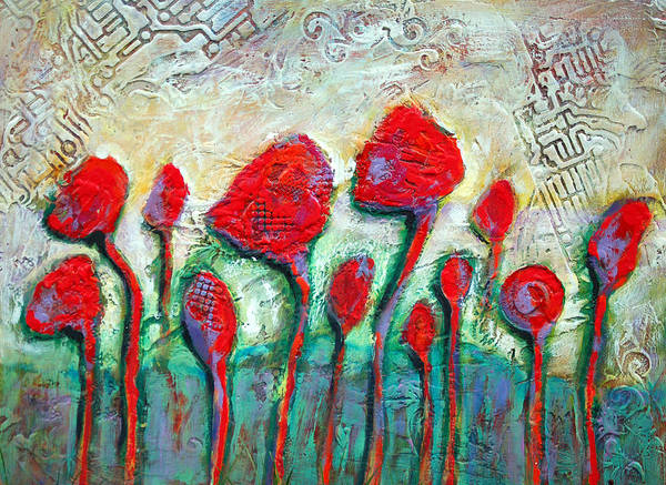 Poppies Art Print featuring the painting Poppies by Claudia Fuenzalida Johns
