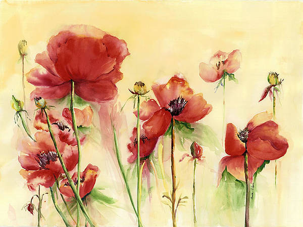 Flowers Art Print featuring the painting Poppies On Parade by Priscilla Powers