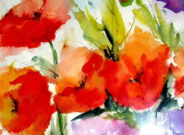 Floral Art Print featuring the painting Poppies by Vesna Grundler