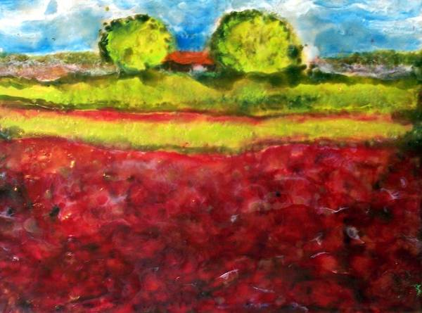 Landscape Art Print featuring the painting Poppy Meadow by Karla Phlypo-Price