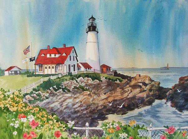 Portland Me Lighthouse Art Print featuring the painting Portland Head Light by Dianna Willman