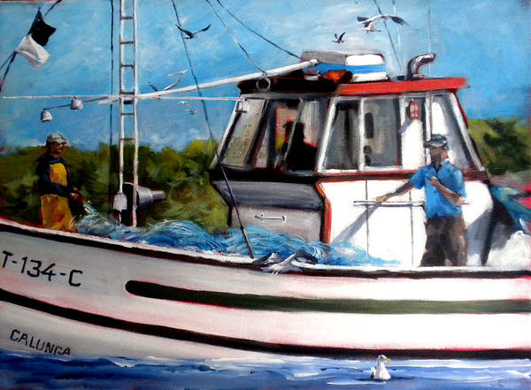 Boats Art Print featuring the painting Portuguese Fishing Boat by Paula Strother