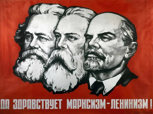 Poster Depicting Karl Marx Art Print featuring the painting Poster Depicting Karl Marx Friedrich Engels And Lenin by Unknown