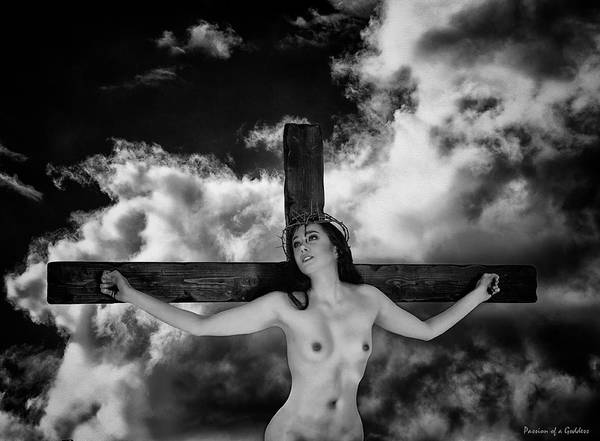 Praying Art Print featuring the photograph Praying On Cross by Ramon Martinez