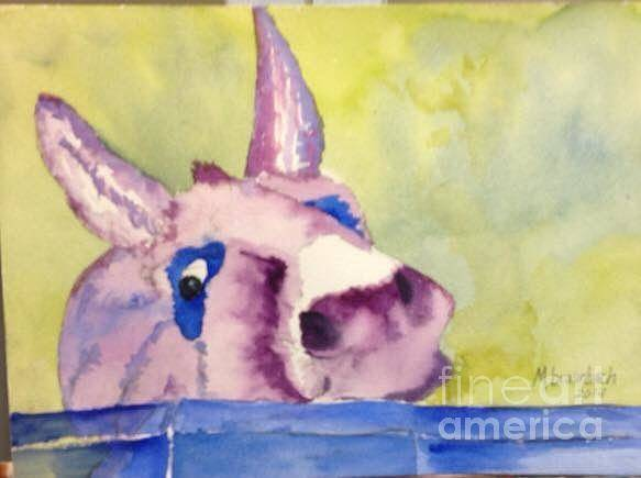 Watercolor Art Print featuring the painting Purple Mule by Marie Brumbach