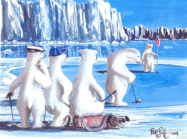 Polar Bears Art Print featuring the painting Putt For Dough by Bob Patterson