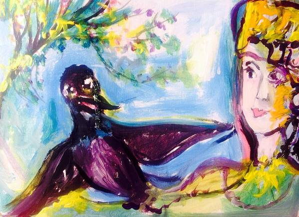 Crows Art Print featuring the painting Queen Of The Crows by Judith Desrosiers