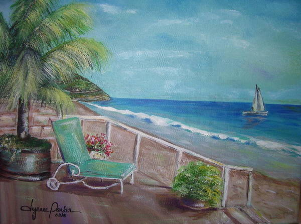 Landscape Art Print featuring the painting Quiet Time In Malibu by Dyanne Parker
