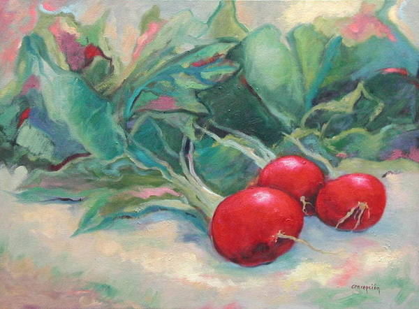 Radishes Art Print featuring the painting Radishes by Ginger Concepcion