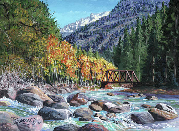 Timithy Art Print featuring the painting Rail Bridge At Cascade by Timithy L Gordon