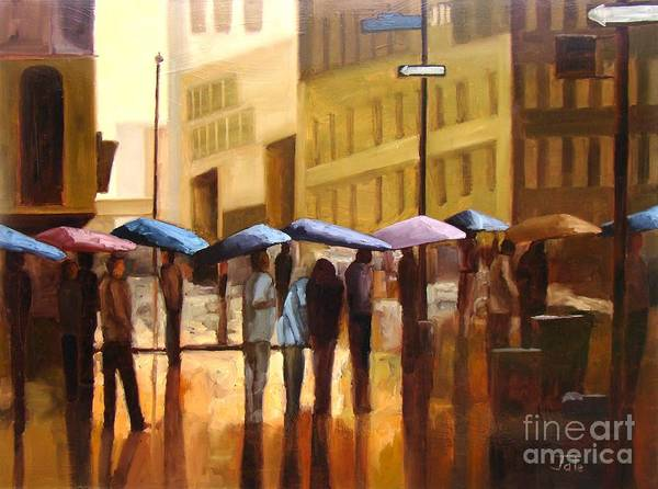 Cityscape Art Print featuring the painting Rain In Manhattan Number Seventeen by Tate Hamilton