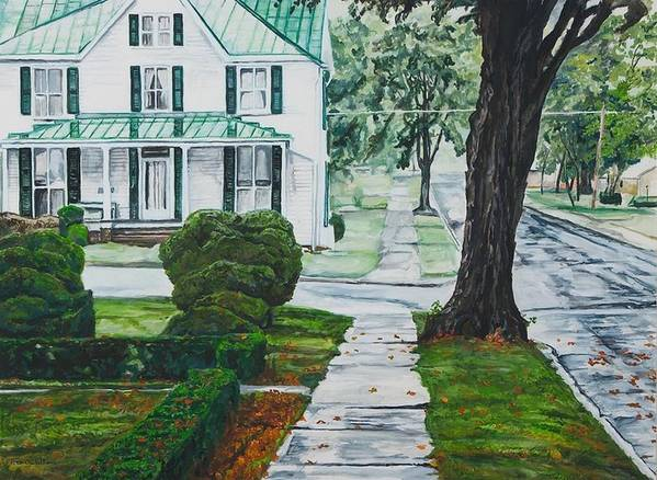 Small Town Art Print featuring the painting Rain On Green Roof by Thomas Akers