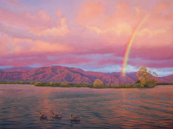 Lake Art Print featuring the painting Rainbow At Sunset by Johanna Girard