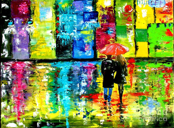 Rain Art Print featuring the painting Rainy Night by Inna Montano