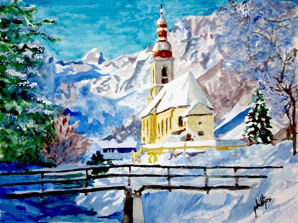Church Art Print featuring the painting Ramsau Parish by Jim Phillips