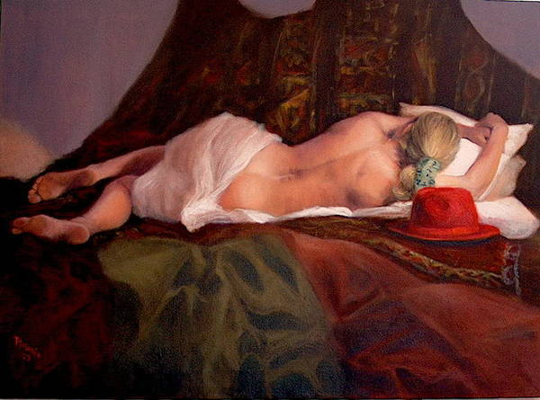 Realism Art Print featuring the painting Red Hat 3 by Donelli DiMaria