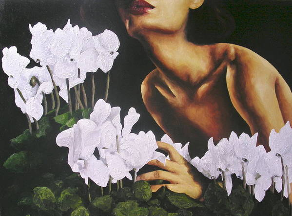 Nude Art Print featuring the painting Red Lips White Flowers by Trisha Lambi