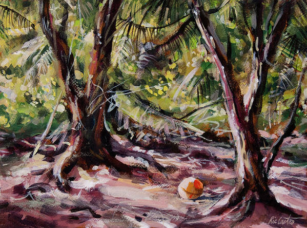 Tropical Landscape Art Print featuring the painting Red Pines Floater by Ric Castro