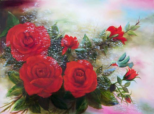 Oil Paintings Art Print featuring the painting Red Roses by Joni McPherson